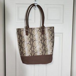 Faux Snakeskin Carryall Tote Bag